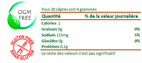 Valeurs NUTRITIONNELLES caprons